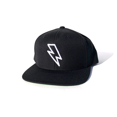 Bolt Outline Snapback Hat - Black/White