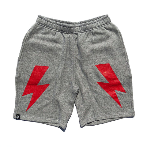 Bolt Sweat Shorts - Heather Grey/Red