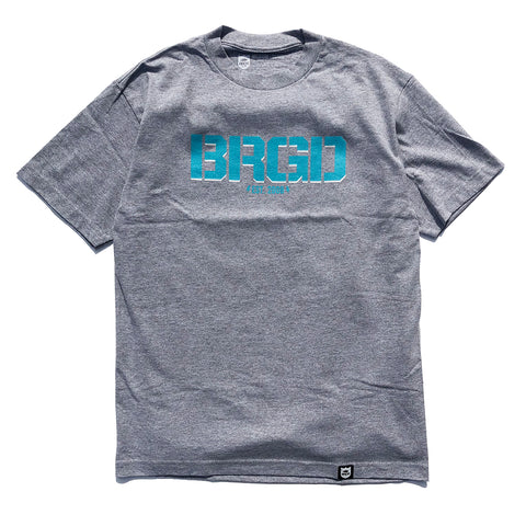 BRGD Logo Tee - Athletic Heather/Aqua Blue/White