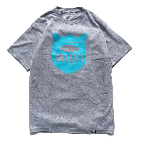 Shield Logo Tee - Athletic Heather/Aqua Blue