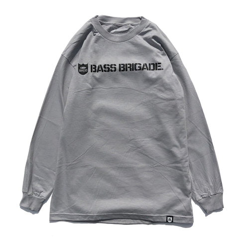 Bass Brigade Shield and Wordmark Graphic LS Tee - Silver