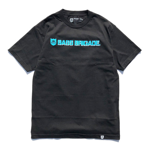 Shield and Wordmark Tee - Black/Aqua Blue/Grey