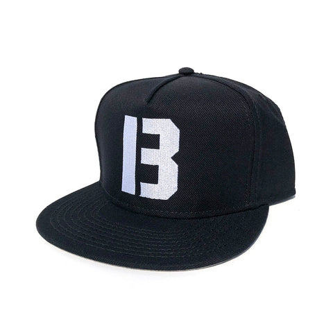 B Logo Snapback Hat - Black/White