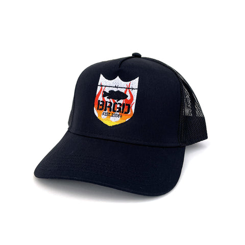 Flame Shield Logo Trucker Hat - Black/Red
