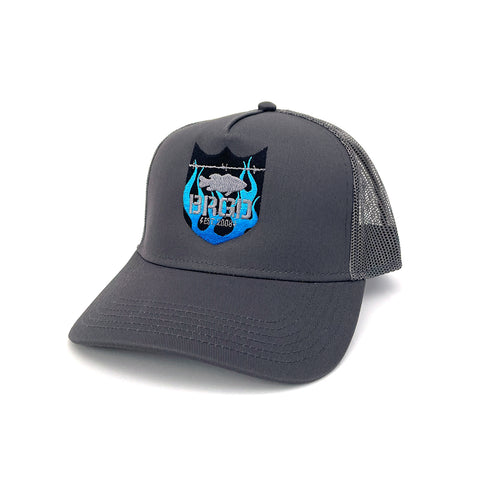 Flame Shield Logo Trucker Hat - Charcoal/Blue