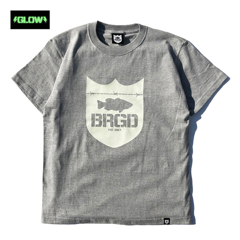 GLOW Shield Logo Tee - Heather Grey/Glow