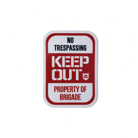 "Keep Out 4""×3"" Sticker - White/Red"