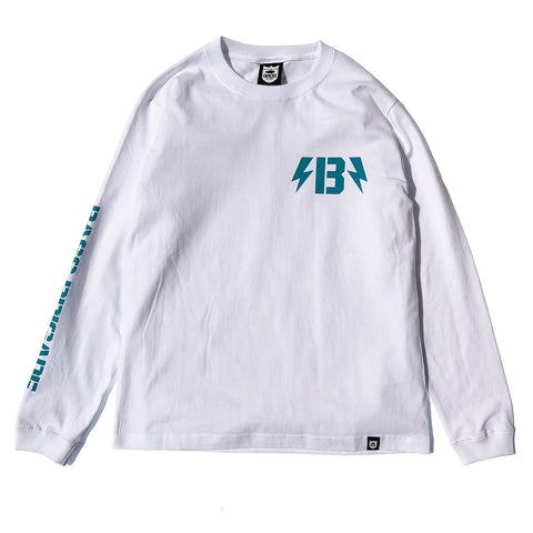 B-Bolt L/S Tee - White/Turquoise