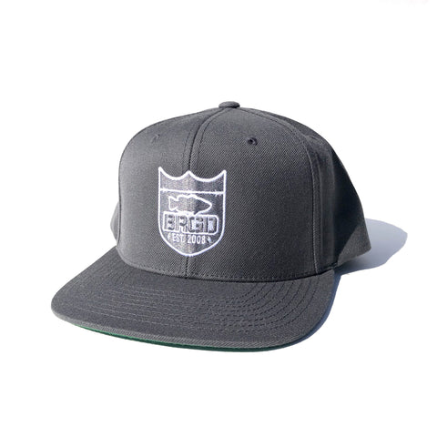 Shield Outline Snapback Hat - Dark Grey