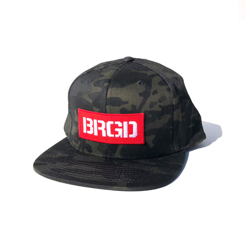 BRGD Red Box Patch Snapback Hat - Black Multi Cam
