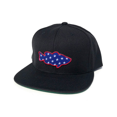 Lunker Stars Patch Snapback Hat - Black