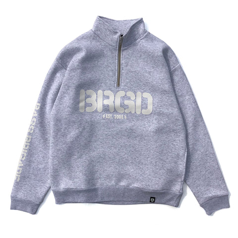 Round Logo Half Zip Sweat - Ash/White