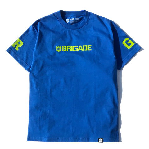 Brigade Wordmark Tee - Royal/Yellow