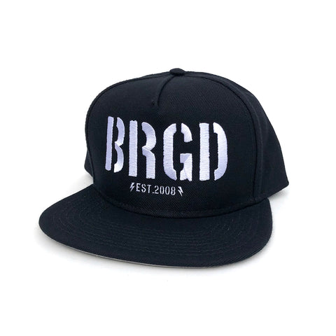 Skeleton BRGD Snapback Hat - Black/White