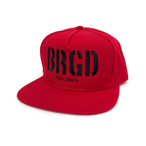 Skeleton BRGD Snapback Hat - Red/Black