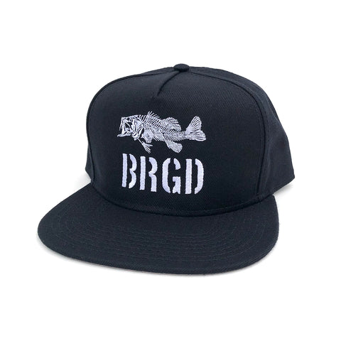 Skeleton Bass Snapback Hat - Black/White