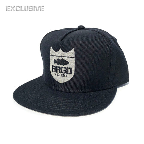 Shield Logo Snapback Hat - Black/Silver [EXCLUSIVE]