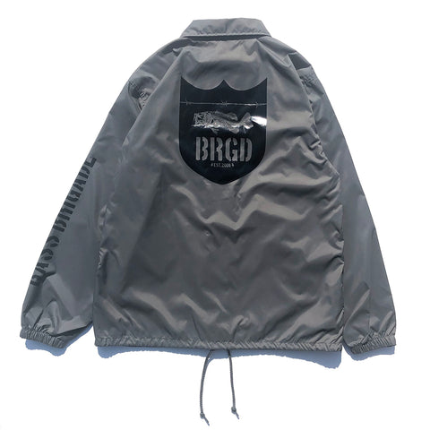 Skeleton Shield Logo Coach Jacket - Cement/Black