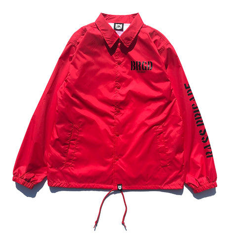 Skeleton Shield Logo Coach Jacket - Red/Black