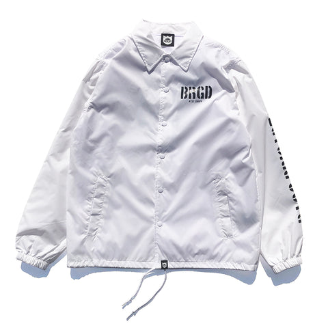 Skeleton Shield Logo Coach Jacket - White/Black