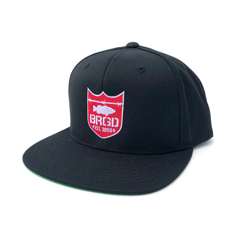 Shield Logo Snapback Hat - Black/Red