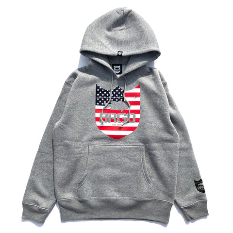 Stars and Stripes Shield Hoodie - Heather Grey