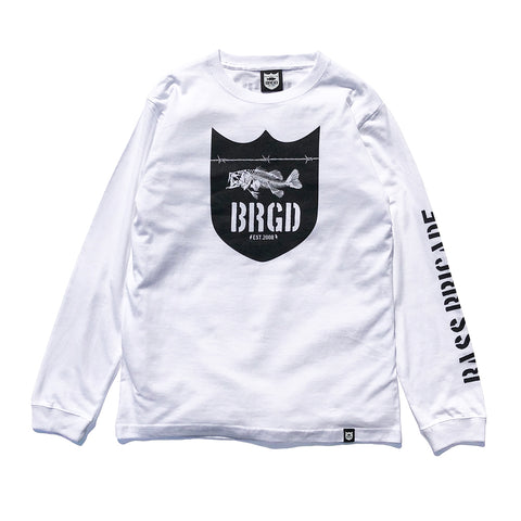Skeleton Shield Logo L/S Tee - White/Black