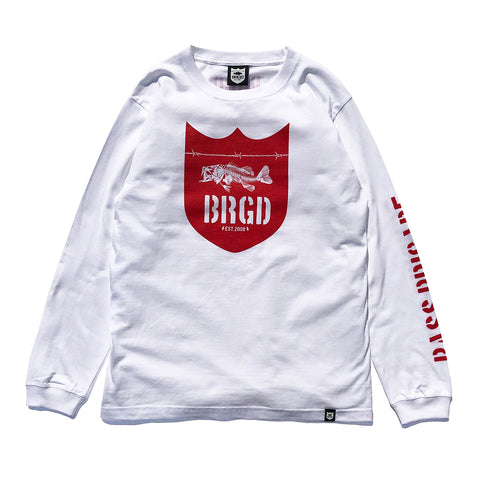 Skeleton Shield Logo L/S Tee - White/Red
