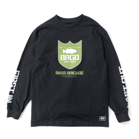 Military Green Shield LS Tee - Black