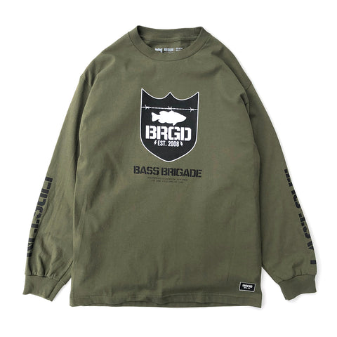 Military Green Shield LS Tee - Military Green