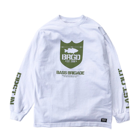 Military Green Shield LS Tee - White