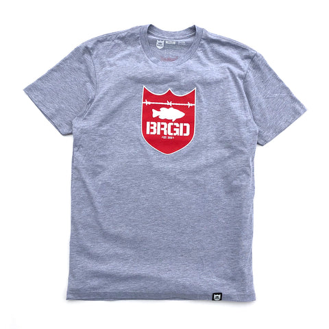 Shield Logo Tee - Graphite Heather/Red