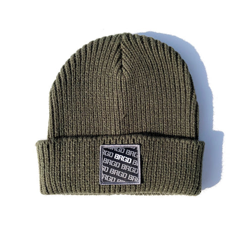 BRGD Pattern Heavyweight Knit Watcher Cap - Olive