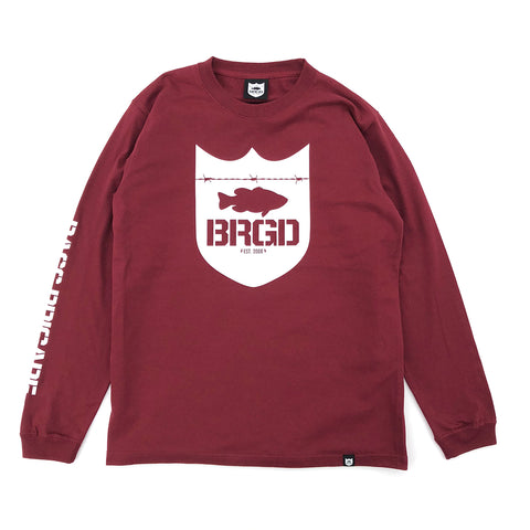Shield Wordmark L/S Tee - Burgundy/White