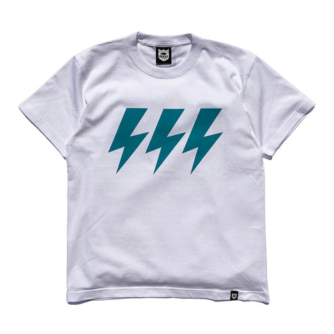Three Bolt Tee - White/Turquoise