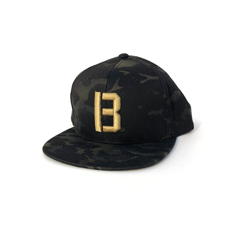 B Snapback Hat - Multi Cam Black