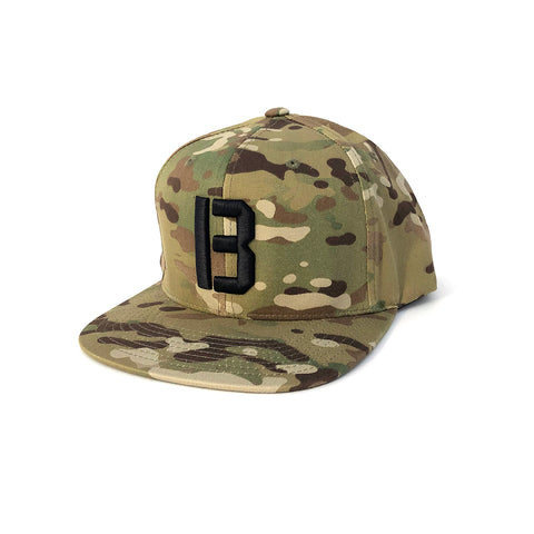 B Snapback Hat - Multi Cam Green