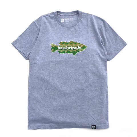 Wavy Camo Bass Tee - Graphite Heather
