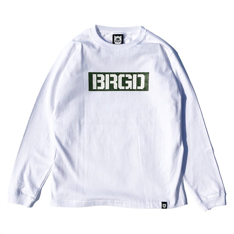 Box BRGD L/S Tee - White/Olive