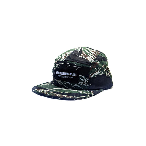 Bass Brigade Wordmark 5 Panel Camper Hat - Tiger Camo