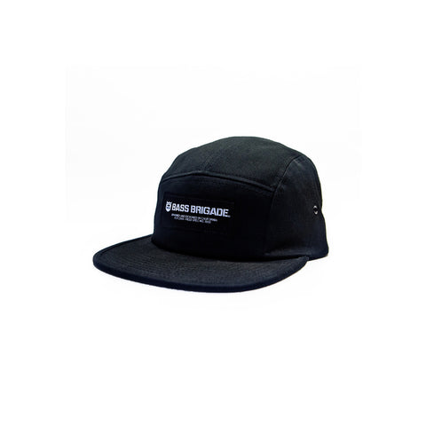 Bass Brigade Wordmark 5 Panel Camper Hat - Black