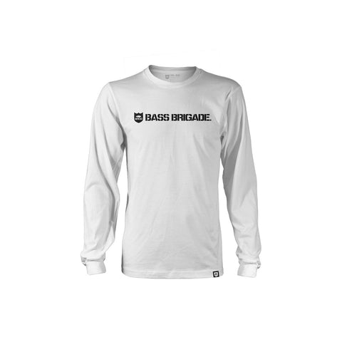 Bass Brigade Shield and Wordmark Graphic LS Tee - White