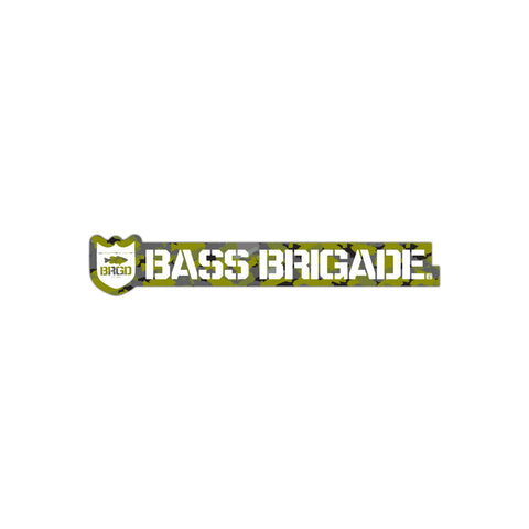 Bass Brigade Shield and Wordmark Sticker - Lunker Camo