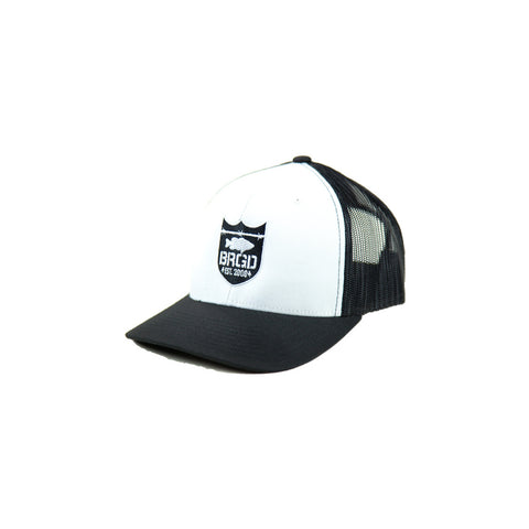 Shield Logo Trucker Hat - White/Black