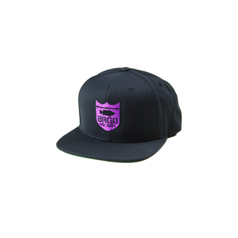 Shield Logo Snapback Hat - Black/Purple