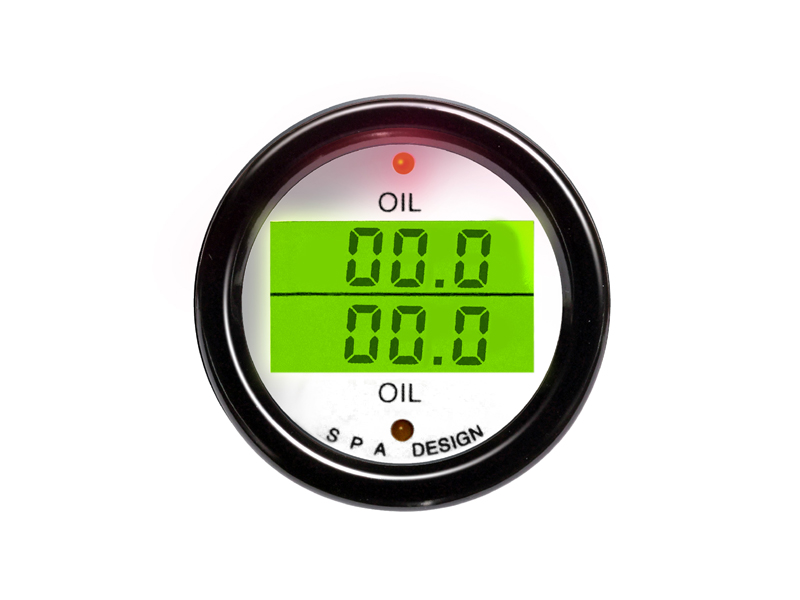 SPA Technique OIL PRESSURE/OIL TEMP Digital Gauge (Black)