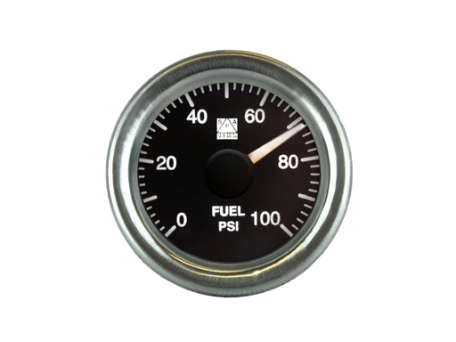 SPA Technique Fuel Pressure Gauge Chrome Bezel 0 to 100 PSI (Black Dial & White Backlight)