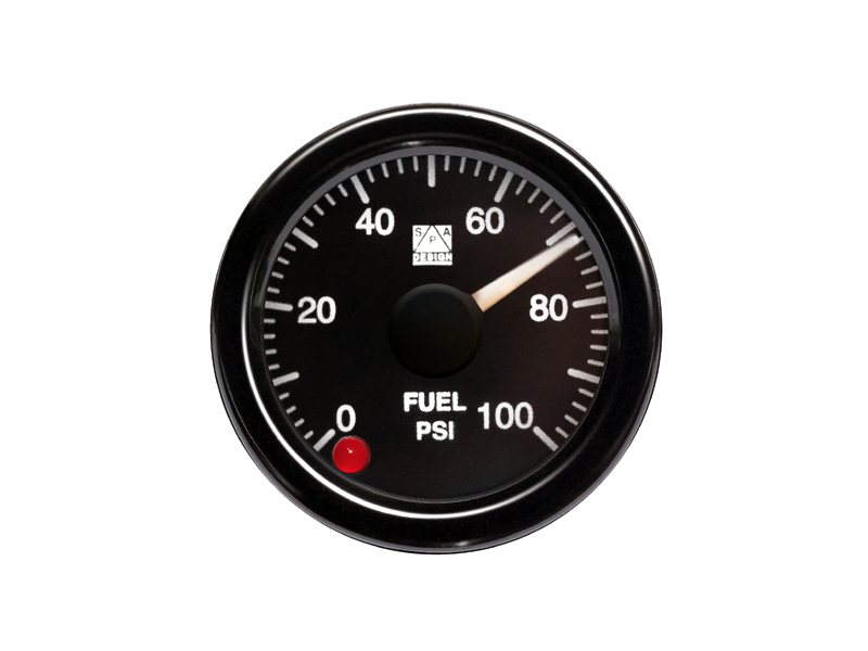 SPA Technique Fuel Pressure Gauge 0 to 100 PSI (Black Dial & White Backlight)