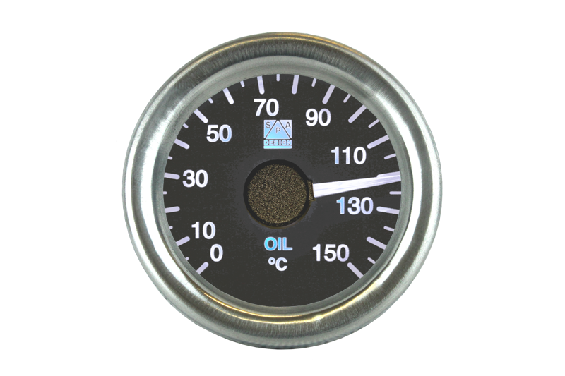 SPA Technique Oil Temperature Gauge Chrome Bezel 0 to 150°c (Black Dial & White Backlight)