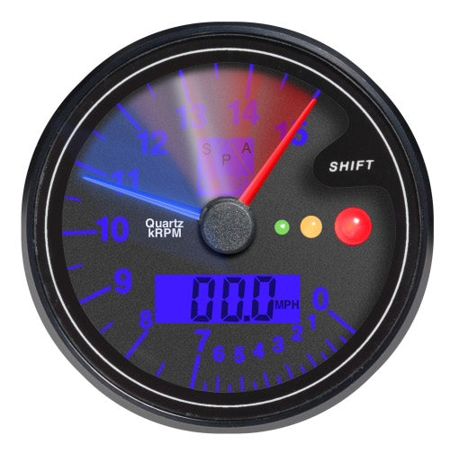 SPA Technique Digital Tachometer with Speedometer and Gear/Shift Gauge 0-16000 RPM (Black Dial/Blue Backlight)